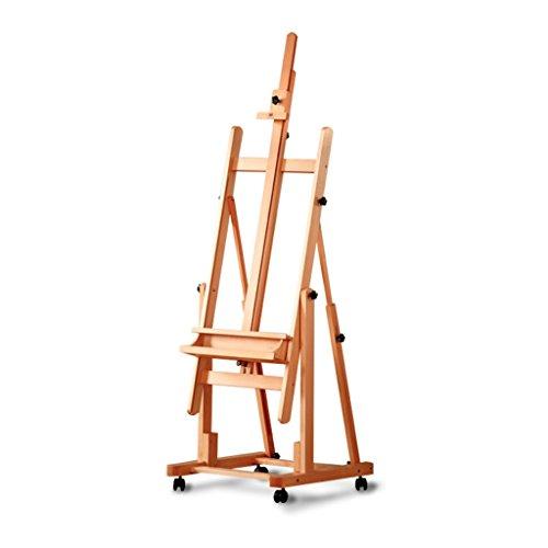 DELLT-Chevalet Couleur de bois de hêtre horizontale et verticale double usage chevalet de plancher peinture salle dédiée enseignant chevalet en bois massif en bois