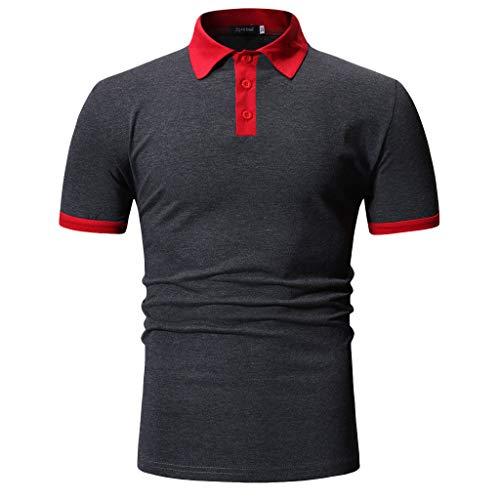 (Sharemen Men's Summer Casual Button Patchwork Short Sleeved T-Shirt Top Blouse (Dark Gray,M))
