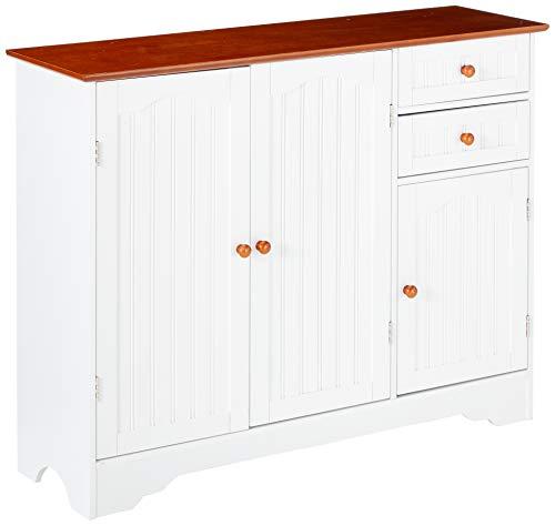 Kings Brand White Walnut Finish Wood Kitchen Storage Buffet Cabinet