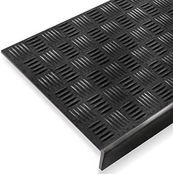 Alfombrillas antideslizantes de goma con borde, para interior y exterior, para las escaleras, 5 unidades, Negro: Amazon.es: Bricolaje y herramientas