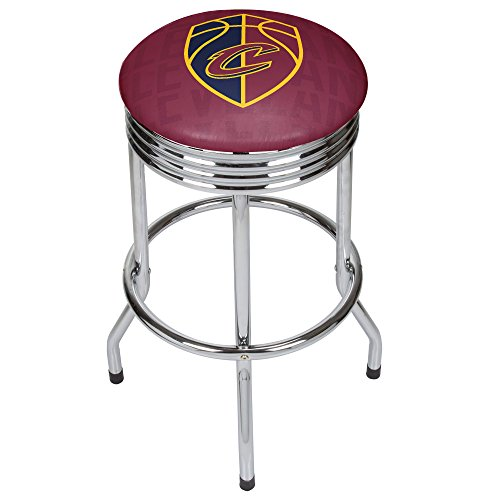 Trademark Gameroom NBA1005-CC3 NBA Chrome Ribbed Bar Stool - City - Cleveland Cavaliers by Trademark Global