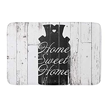 Aomsnet Farmhouse White Wood Rustic Milk jug Home Sweet Bathroom Decor Mat, Shower Rug Mat Water Absorbent Fast Drying Kitchen, Bedroom, Spa Tub. 30  L X 18  W Inches with Non Slip Backing Bath Mat.