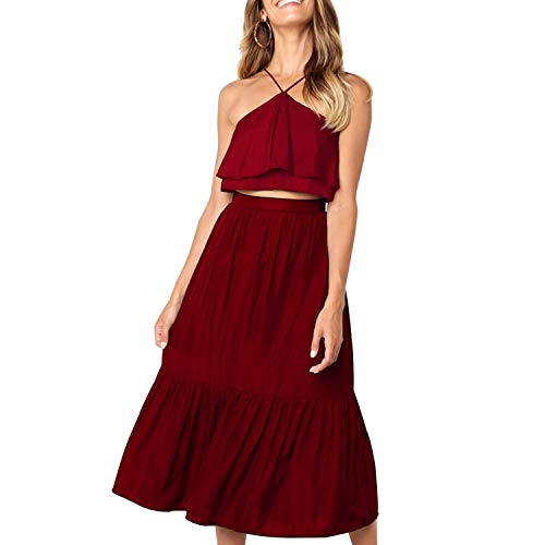 Women's Elegant Halter Backless Ruffle Crop Top High Waist Maxi Skirt Set 2 Piece Cocktail Party Long Dress Summer Outfit Beach Sundress (Medium, Wine Red)