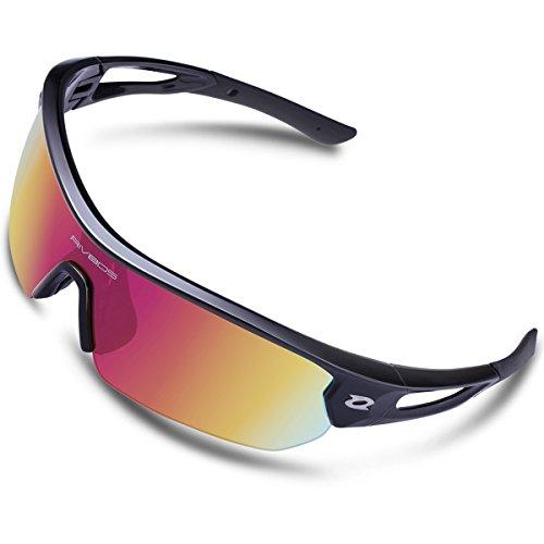 RIVBOS Polarized Sports Sunglasses Sun Glasses with 4 Interchangeable Lenses for Men Women Baseball Cycling Running TR90 Frame RB832 (Black Rainbow Lens) - Online Sunglasses On Try