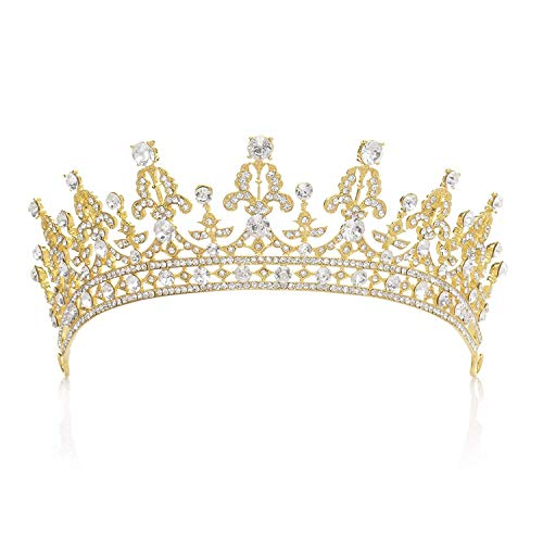 SWEETV Princess Crown CZ Crystal Pageant Queen Tiara Bridal Wedding Headpiece Women Hair Jewelry, Gold+Clear]()