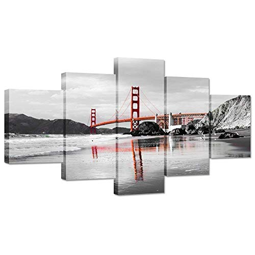 - Hello Artwork - Black And White 5 Pieces Canvas Wall Art Golden Gate Bridge San Francisco California Landscape Picture Printed on Canvas Framed Wall Decor Art Ready to Hang