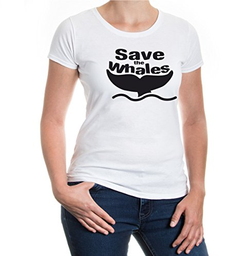 Girlie T-Shirt Save the Whales-L-white-black