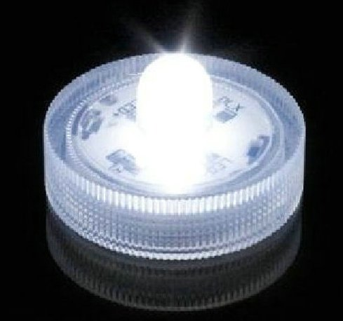 Lily's Home Submersible LED Lights, White. Battery Operated LED Lights. Set of 10 Wedding Tea Lights