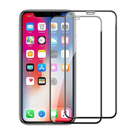 スリル責任公式iPhone XR ガラスフイルム iPhone XR 強化ガラス【2枚セット】最大硬度9H/高透過率/自動吸着/9DカーブLCD保護フィルムアンチコリジョン指紋保護/全面フルカバー 6.1インチ(黒)