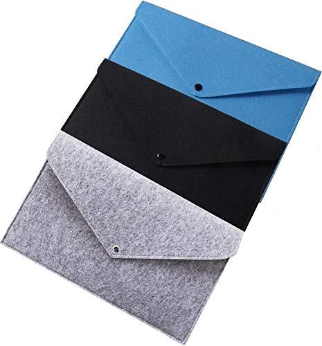 (Alwaysuc 3 pcs Felt File Folder, Durable Briefcase, Document Bag, Paper File Folders, Portfolio Case, Letter Envelope, Handbag Button Closure, for Office Home School Stationery)