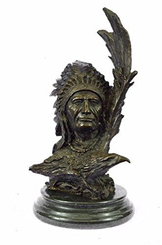 Marble Eagle - Handmade European Bronze Sculpture Original Harriet Native American W/ Eagle Marble Figure Bronze Statue -UKxn-0854-Decor Collectible Gift