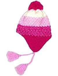 Bienzoe Girls Kids Winter Soft Warm Knit Hat Fleece Lined Pink Head 49-51cm