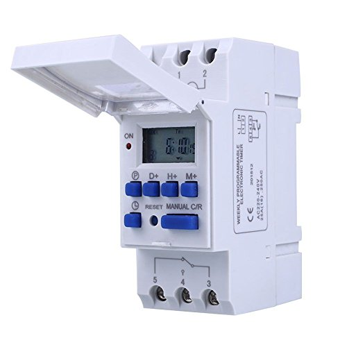 Qianson DIN Rail Mounting DC 12V 16A Digital LCD Display Programmable Control Counter Time Timing Timer Relay - Timer Din