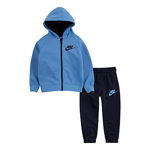 NIKE Children's Apparel Baby Boys' Toddler Hoodie and Joggers 2-Piece Outfit Set, Obsidian/University Blue, -