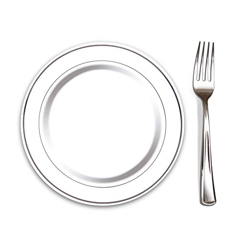 "100 Heavyweight Elegant Plastic Disposable 7.5"" Small Plates & 100 Silver Plastic Forks, Perfect for Salads, Desserts, Tapas, Appetizers, Hors d' oeuvres, Parties, Catering, Wedding Cakes"