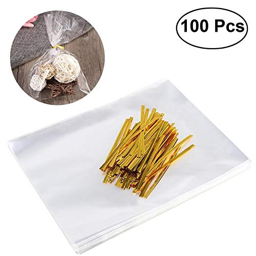 Baking Pastry Tools|Treat Bags Cellophane Bags with 100pcs Golden Twist Ties for Candy Bread Chocolate Jelly|By ()