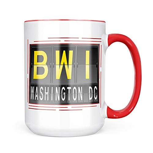 Neonblond Custom Coffee Mug BWI Airport Code for Washington DC 15oz Personalized Name ()