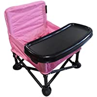 Samanas Goods Portable Baby Booster Seat, Folding Baby Chair with Tray and Carrying Bag for Indoor or Outdoor Feeding Time or Playtime by (Pink)