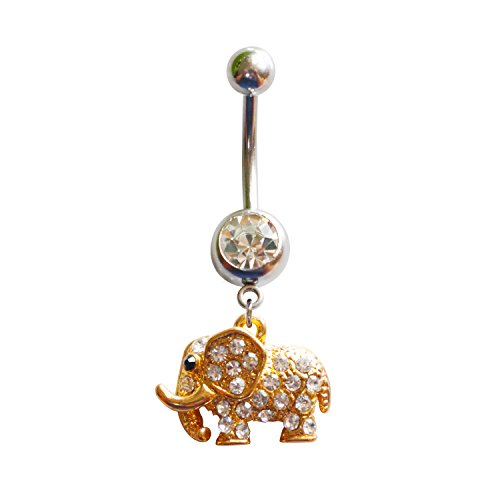 MEYFANCY Gold Elephant Belly Button Ring, Cute Dangle Animal Navel Ring, 316L Surgical Steel with Crystals CZ Multi Paved Body Piercing Jewelry 14G (1.6mm) Animal Dangling Belly Button Ring