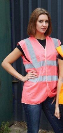 XXXL Sizes M Pink Hi Vis Waistcoat