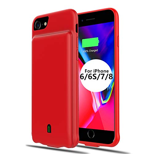 (Battery Case for iPhone 6/6s/7/8, Extended Battery Charger Case for iPhone 6 6s 7 8 (4.7 inch) 4500mAh Portable Protective Charging Case (Red) )