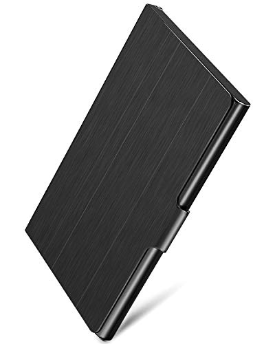 MaxGear Professional Business Card Holder Business Card Case Stainless Steel Card Holder, Keep Business Cards in Immaculate Condition, 3.7 x 2.3 x 0.3 inches, Black