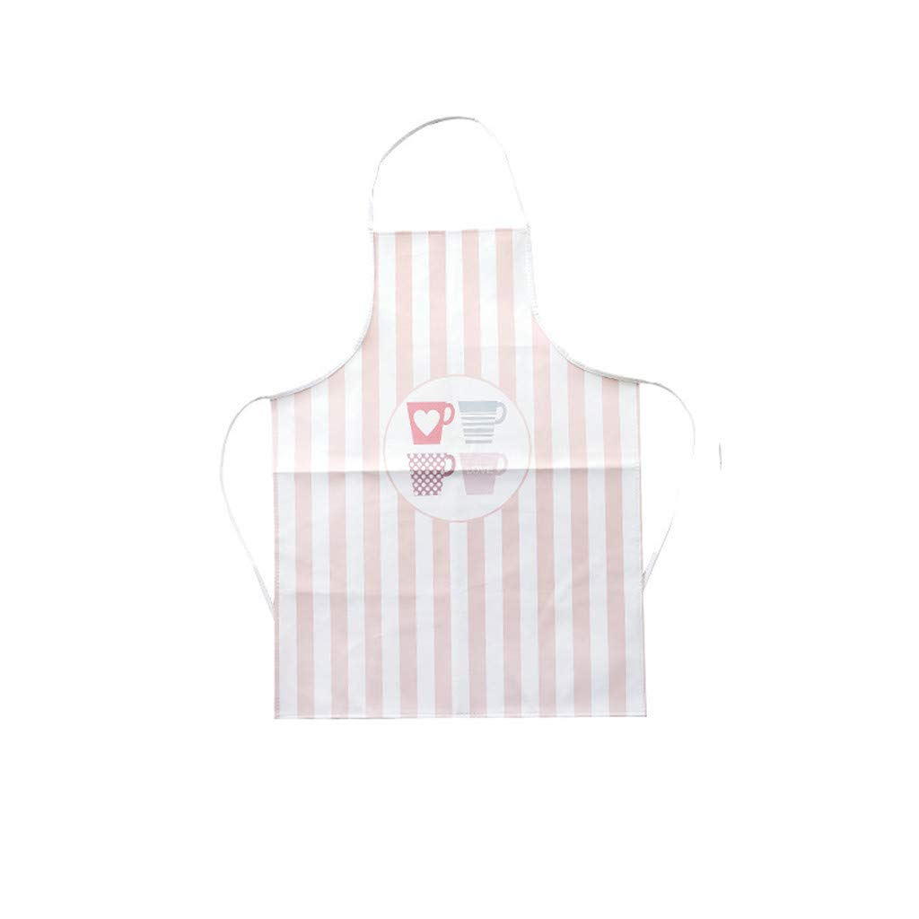 Creative Fashion Women Ladies Nordic Style Washable Apron Bakery Kitchen Home Waterproof Apron (Pink)