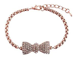 2 Pieces of Rose Goldtone Iced Out Bow Tie Shamballah Box Chain Adjustable Bracelet
