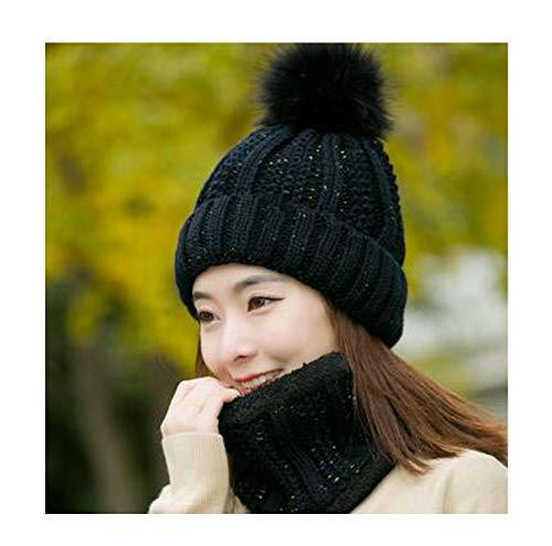 Neck Warm Knitted Winter hat for Women Girl Wool Beanies Skullies Letter B Velvet hat mask Bonnet Femme Balaclava Scarf hat,Black Hat bib Set