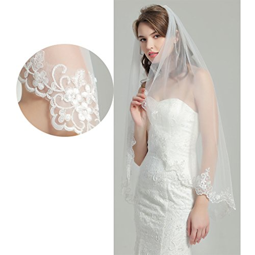 Veil Color (Wedding Bridal Veil with Comb 1 Tier Lace Applique Edge Fingertip Length 41