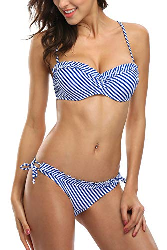 Vegatos Women Push Up Wired Bikini Blue Stripe Two Piece Bandeau Swimsuit - Piece Two Bandeau