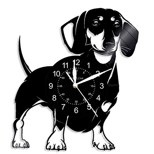 KL Love Dog Vinyl Record Wall Clock, Suitable for Classroom, Children's Birthday Gift, Valentine Gift, Business Gift, Back to School Gift, Art, Home & Decoration, Souvenir, 12 Inch Qualit, (A2)