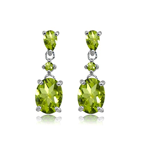 Sterling Silver Peridot Oval Three Stone Dangling Stud Earrings - Oval Peridot Polished Earrings