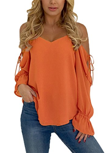 Blibea Womens Spaghetti Strap Loose T Shirts Off Shoulder Blouse Long Flared Ruffled Sleeve Shirts Elegant Tee Tops Medium Orange by Blibea