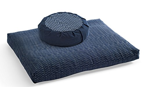 DharmaCrafts Ikat Zafu and Zabuton Set (ZZSet) Meditation Cushions kasuri Handwoven Cloth (Two Tone - Kasuri Cover