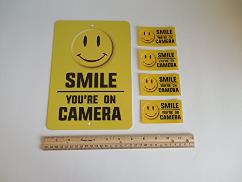 Smile You're On Camera Video Surveillance Warning Metal Security Sign & 4 Window Stickers # 721