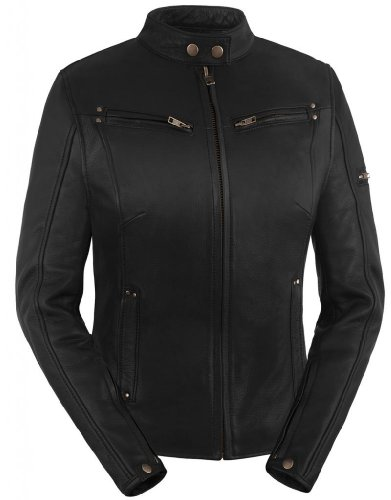 Vented Touring Jacket (True Element Womens Sleek Vented Scooter Collar Leather Motorcycle Jacket (Black, X-Large))