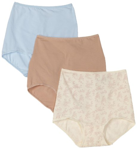 Bali Women's 3-pack Cool Cotton Skimp Skamp Brief Panties, Nude/Blue/Neutral Print, Size 8