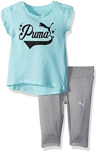 PUMA Baby Girls 2 Piece Tee and Capri Set,SOFT FLUORESCENT PEACH,3-6M