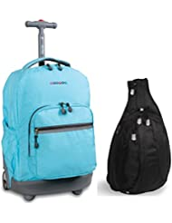 J World New York Sunrise Rolling Backpack & Stacy Sling Backpack Set