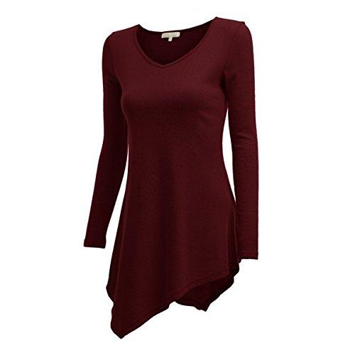 Secolo Lunga Tunica Manica Plus Stella Donne Solida Delle Collo Casuale Maglietta Size V Bordeaux Vestito Top 7wwxRpTq