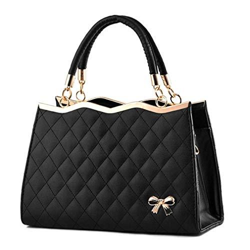 de Bolsos Black Pink Mano de de Cuero Mujer Bolsos 30x11x20cm Bolsos de PU x7vHq8n