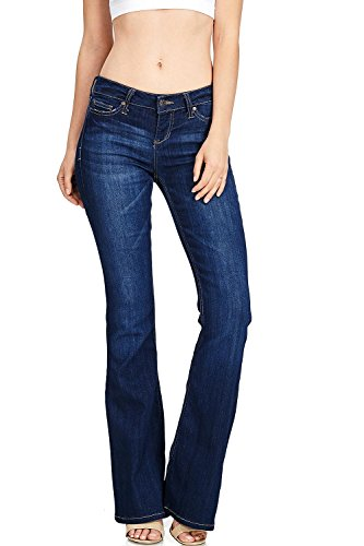 Celebrity Pink Women's Juniors High Waisted Flared Bell Bottom Jeans (3, Dark)