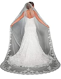 EllieHouse Women's Lace Chapel Wedding Bridal Veil With Free Comb E03