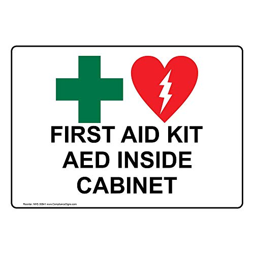 ComplianceSigns Vinyl First Aid Kit AED Inside Cabinet Labels, 5 x 3.50 in. with English Text and Symbols, White, pack of 4 - First Aid Labels