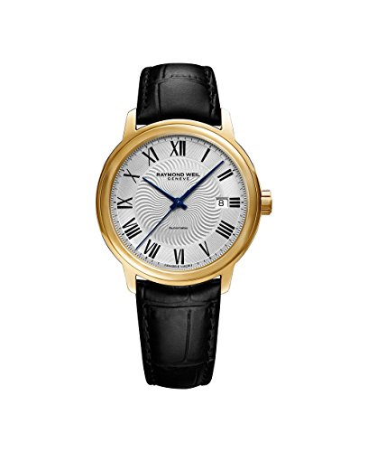 Raymond Weil Men's 'Maestro' Swiss Gold-Tone and Leather Automatic Watch, Color:Black (Model: 2237-PC-00659)