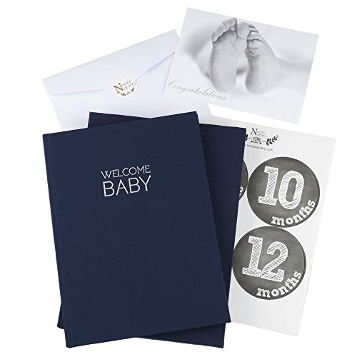 (Navy Blue Linen Wrapped Baby Memory Book Journal with Monthly Stickers & Card – Baby Shower Gift or Scrapbook Keepsake)