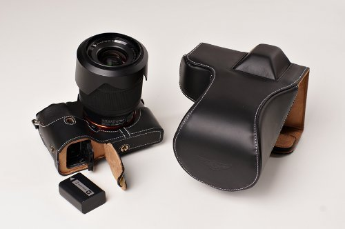 399 Brown Leather (Handmade Genuine real Leather Full Camera Case bag cover for Sony A7 Sony A7R Sony A7S 28-70mm,FE 55mm/F1.8 and 35mm lens Bottom opening Version Brown color)