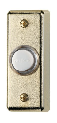 NuTone PB69LPB Wired Lighted Door Chime Push Button Polished Brass