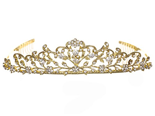 Flower Vine Design Bridal Tiara Crown - Clear Crystals Gold Plating T710